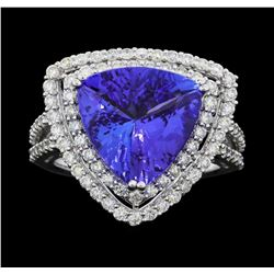 Platinum 5.80ct Tanzanite and Diamond Ring
