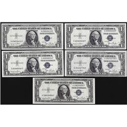Lot of (5) 1935D $1 Silver Certificate Notes Narrow Uncirculated