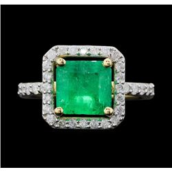 14KT Yellow Gold 3.02ct Emerald and Diamond Ring