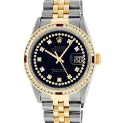 Rolex Men's Two Tone Black String VVS Diamond and Ruby Datejust Wristwatch