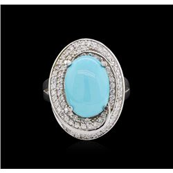 14KT White Gold 3.79ct Turquoise and Diamond Ring