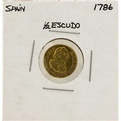1786 Charles III Spanish 1/2 Escudos Gold Coin