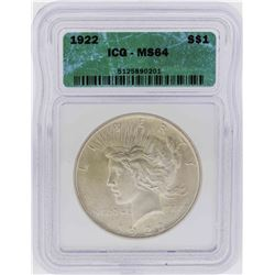 1922 $1 Peace Silver Dollar Coin ICG MS64