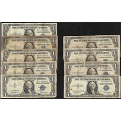 Lot of (9) 1935 & 1957 $1 Silver Certificate Notes