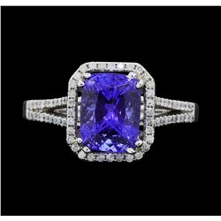 14K White Gold 3.02 ct. Tanzanite and Diamond Ring