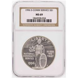 1996-S $1 Community Service Commemorative Silver Dollar Coin NGC MS69