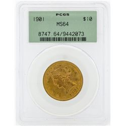 1901 $10 Liberty Head Gold Eagle Coin PCGS MS64