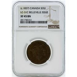 c. 1837 Canada Un Sou LC-31C Belleville Issue Coin NGC XF45BN