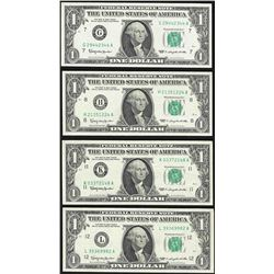 Lot of (4) 1963 $1 Federal Reserve Notes