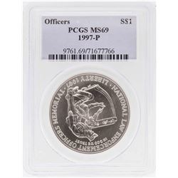 1997-P $1 Officers Memorial Commemorative Silver Dollar Coin PCGS MS69