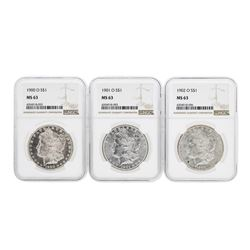 Set of 1900-O to 1902-O $1 Morgan Silver Dollar Coins NGC MS63