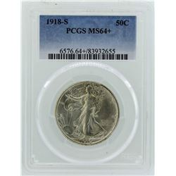 1918-S Walking Liberty Half Dollar Coin PCGS MS64+