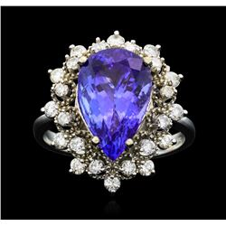 14KT White Gold 5.16ct Tanzanite and Diamond Ring