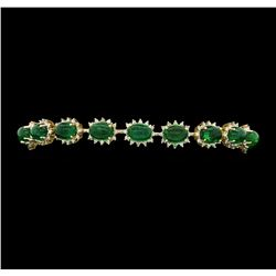 14KT Yellow Gold 18.69ctw Emerald and Diamond Bracelet