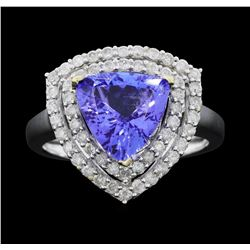 14KT White Gold 2.71ct Tanzanite and Diamond Ring