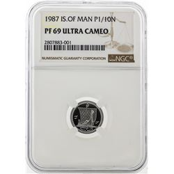 1987 Isle of Man 1/10 Ounce Platinum Coin NGC PF 69 Ultra Cameo