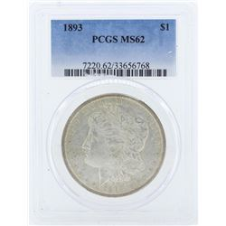 1893 $1 Morgan Silver Dollar Coin PCGS MS62