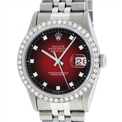 Rolex Stainless Steel 1.40ctw Diamond Datejust Mens Wristwatch