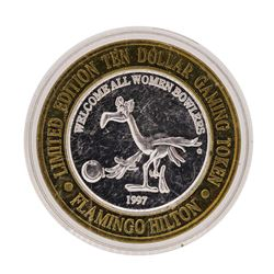 .999 Silver Flamingo Hilton Reno, Nevada $10 Casino Limited Edition Gaming Token