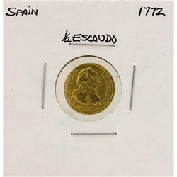 1772 Charles III Spanish 1/2 Escudos Gold Coin