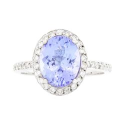 14KT White Gold Ladies 2.90ct Tanzanite and Diamond Ring