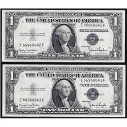 Lot of (2) Consecutive 1935D $1 Silver Certificate Notes Narrow Uncirculated