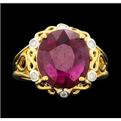 SILVER 7.56ct Ruby and Diamond Ring