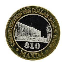 .999 Silver Maxim Hotel & Casino Las Vegas, NV $10 Limited Edition Gaming Token