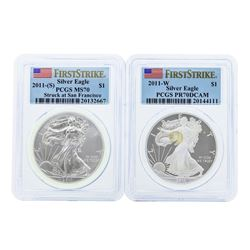 Lot of (2) 2011 $1 American Silver Eagle Coins PCGS MS70 & PR70DCAM