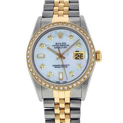 Rolex 14KT Two Tone Gold 1.00ctw Diamond Datejust Mens Wristwatch