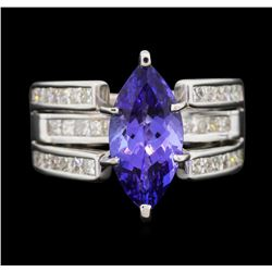 18KT White Gold 3.12ct Tanzanite and Diamond Ring