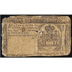 April 20, 1756 New York 5 Pounds Colonial Currency Note