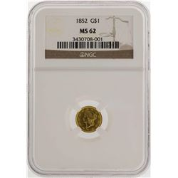 1852 $1 Liberty Head Gold Coin NGC MS62