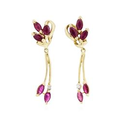 14KT Yellow Gold 1.00ctw Ruby and Diamond Dangle Earrings