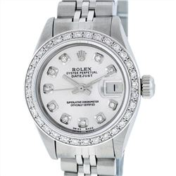 Rolex Stainless Steel 0.70ctw Diamond Datejust Ladies Wristwatch