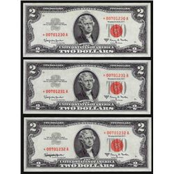 Lot of (3) Consecutive 1963A $2 Legal Tender STAR Notes
