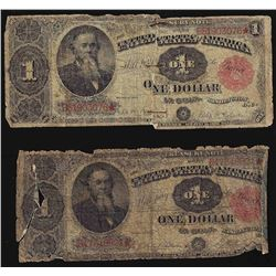 Group of (2) 1891 $1 Treasury Notes - See Details