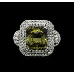 14KT White Gold 9.71ct GIA Cert Yellow Sapphire and Diamond Ring