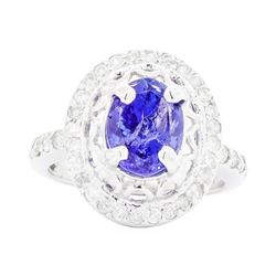 14KT White Gold Ladies 2.46ct Tanzanite and Diamond Ring
