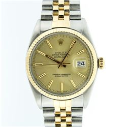 Rolex Mens Two Tone 14KT Yellow Gold Datejust Wristwatch