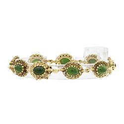 14KT Yellow Gold 6.00ctw Jade Bracelet