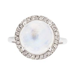 14KT White Gold Lady's 5.00ct Moonstone and Diamond Ring