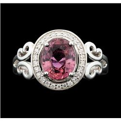 Platinum 2.59ct Pink Sapphire and Diamond Ring GIA Certified