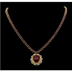 14KT Yellow Gold 43.79ctw Ruby and Diamond Necklace