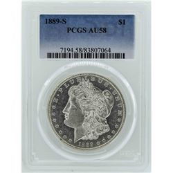 1889-S $1 Morgan Silver Dollar Coin PCGS AU58