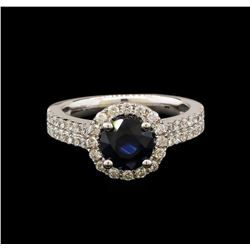 14KT White Gold 1.78ct Blue Sapphire and Diamond Ring