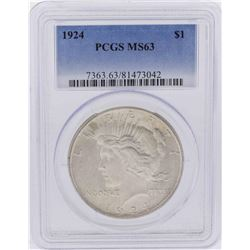 1924 $1 Peace Silver Dollar Coin PCGS MS63