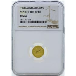 1998 $5 Australia Year of the Tiger Gold Coin NGC MS69