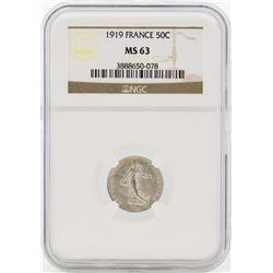 1919 France 50 Centimes Silver Coin NGC MS63