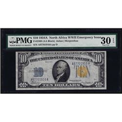 1934A $10 North Africa Silver Certificate WWII Emergency Note PMG Very Fine 30EP